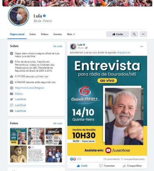 Ex-presidente Lula concede nesta quinta-feira entrevista ao vivo à Grande FM